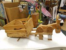 Custom Solid Wood Donkey with cart with wheels in Westmont, Illinois