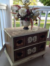 Distressed antique vintage shabby farm rustic chippy cabinet, end / side / porch table, night stand in St. Charles, Illinois