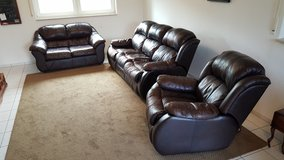 Brown Leather Couch Set - Reduced Price! in Ramstein, Germany