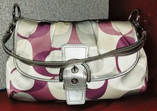 Coach Purse gray/wine color authentic in Camp Lejeune, North Carolina