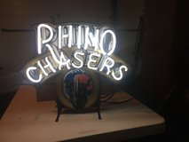 neon bar sign, Rhino Chasers beer in Glendale Heights, Illinois