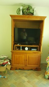 Oak finish entertainment center with end tables - can be sold separately in Warner Robins, Georgia