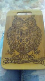 Hand burned owl cutting board in Fort Polk, Louisiana