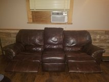 Dark brown leather couch-PRICED TO SELL(moving) in Conroe, Texas
