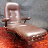 Brown Leather Recliner Chair with Double Cushion in Ramstein, Germany