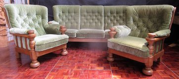 Couch Set with 2 Chairs and Solid Oak Couch Frames with Wrap-Around Cushions in Ramstein, Germany