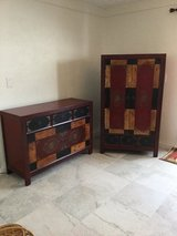 Pier 1 Imports Alston Hand Painted Cabinet and Armoire (Tall Cabinet) Sold Together in Honolulu, Hawaii