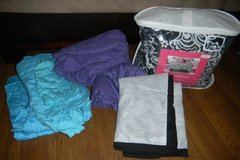 Twin / XL Twin DORM Black White Floral Damask Bedding Set + Purple & Teal Sheets in Kingwood, Texas
