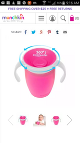 Munchkin 360 training cup 7oz pink color in Okinawa, Japan