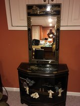 Black Lacquer Mother of Pearl Motif Sideboard with mirror in New Lenox, Illinois