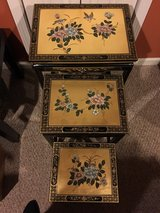 Hand Painted Scenery Design Nesting Tables in Naperville, Illinois