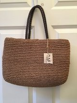 "NEW WITH TAG - 14"" Woven TAN Purse Tote, in Bolingbrook, Illinois"