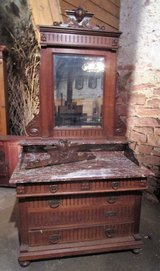 Very Nice Antique Dresser with Marble Top and Mirror from the Mid 1800s in Ramstein, Germany