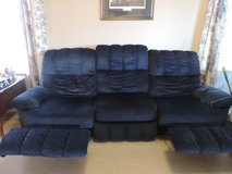 Navy w/ mini print velour 3 seat sofa with built in recliners in Fort Belvoir, Virginia