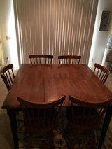 (Reduced)Solid wood bar height kitchen table with 6 chairs in Hemet, California