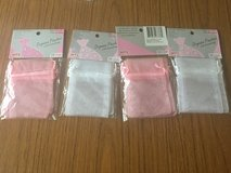Pink and white organza pouches in Okinawa, Japan