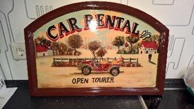 Vintage Wooden Hand painted sign Car Rental in Ramstein, Germany