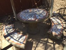 "Concrete Table with 3 - Benches 42"" Dia. Round in Temecula, California"