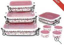 20 piece ceramic red and white cook set in Fort Campbell, Kentucky