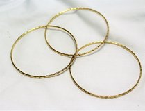 3 Gold Tone Bangles Cuff Chain Bead Bracelets in Kingwood, Texas