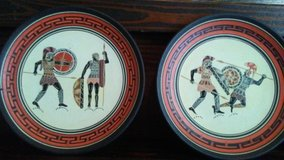 4 antique Greek terracotta plates handmade in Greece in Cleveland, Texas