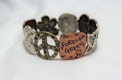 NWOT Antiqued Brass Bronze Gold Silver Tone Stretch Green Peace Environment Bracelet in Kingwood, Texas