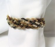 Silver Gold Brass Bronze Tone Mesh Magnetic Clasp Chain Bead Bracelet in Kingwood, Texas