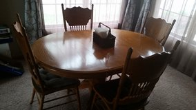 Oak Dining Rm. table w 4 chairs in DeKalb, Illinois