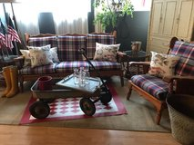 Red white Blue Plaid Vintage Sofa & Chair Cottage Farmhouse Summer Porch Couch in Fort Leonard Wood, Missouri
