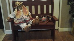 Childs Room Decor- Wooden Bench & Hand Sewn  Bunny Rabbit Doll & Vintage Toy Telephone in Glendale Heights, Illinois
