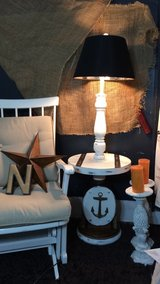 Shabby chic nautical side table w lamp. in Joliet, Illinois