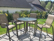 Patio Furniture (4 Chairs and Glass Top Table) in Ramstein, Germany