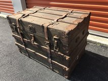 Antique 1800's Trunk w/ Insert Oak Rails in Cherry Point, North Carolina