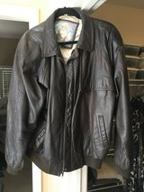 Men's leather bomber jacket in Camp Pendleton, California