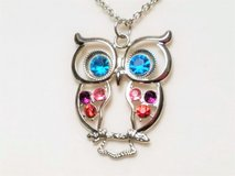"""Silver Tone 30"""" Owl Bird Feather Blue Pink Tree Chain Pendant Statement Necklace in Kingwood, Texas"""