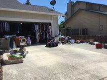 Clothes, shoes, belts, electronic, luggage,desk chairs,check it out.. today only yard sale! in Travis AFB, California