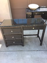 Black Wicker Desk with Glass Top in Travis AFB, California