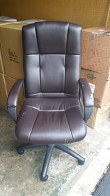 Staples Brown Leather Office Chair in Bartlett, Illinois