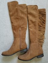 Womens Knee Boots Tan Leather w/Fringe New Size 8 in Sugar Grove, Illinois