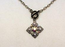 "Antiqued Silver Tone 18"" Square Crystal Gem Toggle Stones Chain Pendant Necklace in Kingwood, Texas"