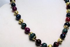 """Green Red Purple Plastic Bead Gold Tone 24"""" Chain Strand Statement Necklace in Kingwood, Texas"""
