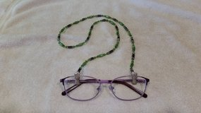 Eye Glass Holder, Fiber Optic Green and Crystal* Glass Beads, with Hemalite, and Grip Clips in 29 Palms, California