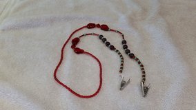 Eye Glass Holder, Bright Red and Frosted Green Theme Glass Beads, with Grip Clips in 29 Palms, California