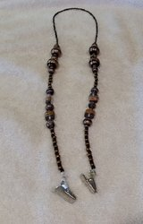 Eye Glass Holder, Black and Gold Frosted Glass Beads, with Grip Clips in 29 Palms, California
