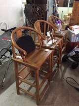 antique high wood chair in Okinawa, Japan