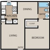 1 Bedroom 1 Bath downstairs with patio  Community for Seniors 50+ in Houston, Texas