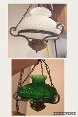 Chandelier Lamp with 2 Globes - 1 White Hobnail & 1 Green French Country in Baytown, Texas