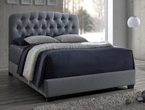 BRAND NEW! LINEN QUALITY TUFTED GREY QUEEN BEDFRAME! in Camp Pendleton, California