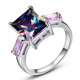 New - Rainbow Topaz Emerald Cut with Pink Topaz Baguettes Ring - Size 9 in Alamogordo, New Mexico