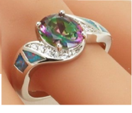 New - Rainbow Topaz and Blue Fire Opal Ring - Size 9 in Alamogordo, New Mexico